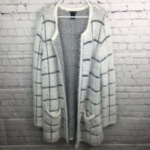 New Directions Fuzzy Cardigan Sweater Jacket Large